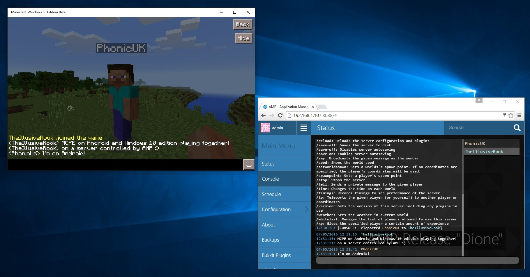 После выхода AMP с поддержкой MCPE пользователи стали выкладывать скриншоты демонстрирующую работу сервера Nukkit