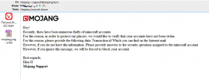 phishing email - some trying to stole my minecraft account